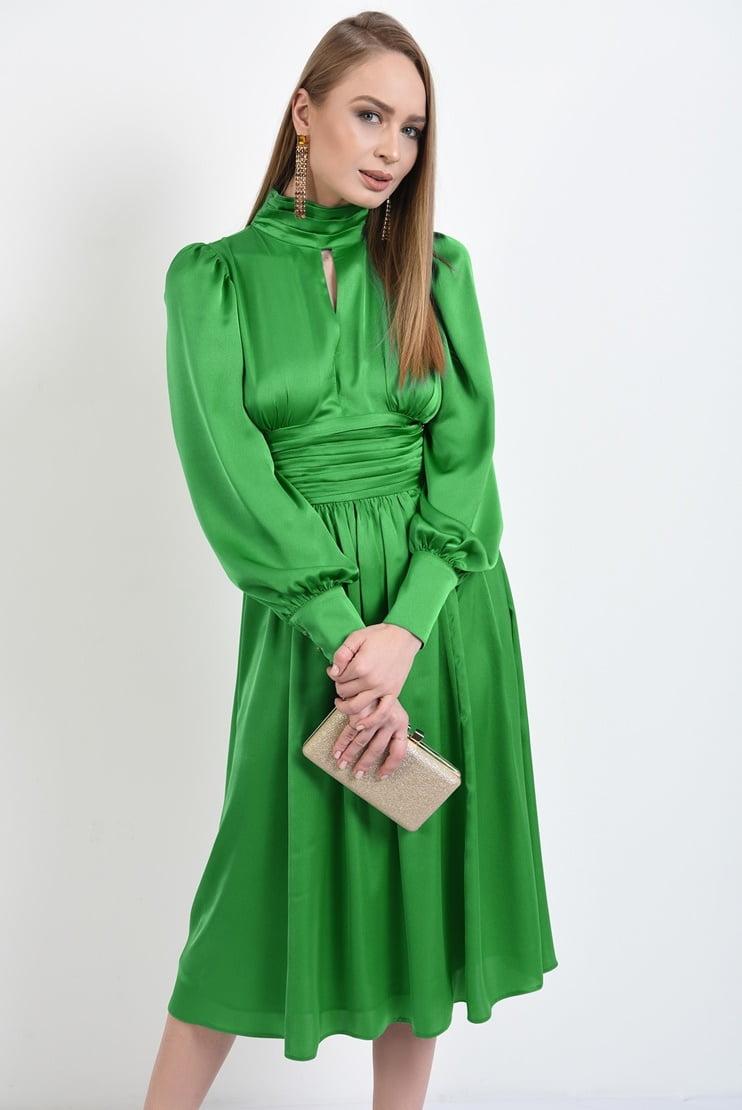 Rochie eleganta din satin cu brau fronsat