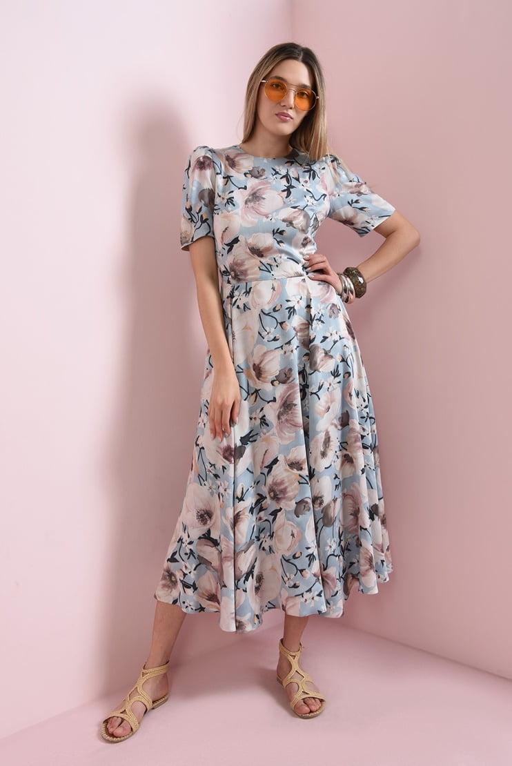 Rochie midi bleu cu flori ample
