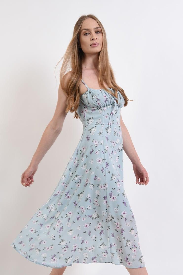 Rochie midi cu bust incretit si print floral