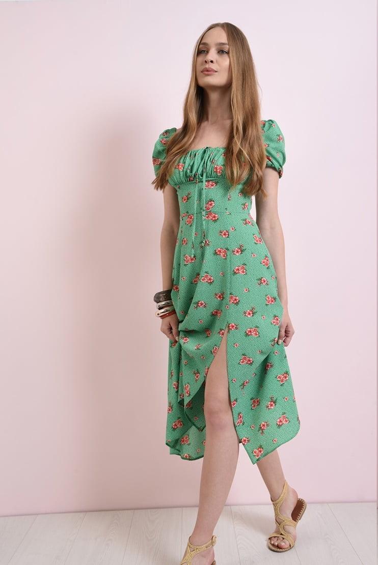 Rochie midi cu slit si motive florale