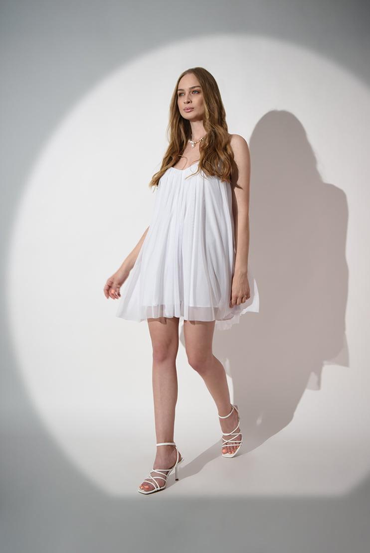 Rochie mini alba vaporoasa