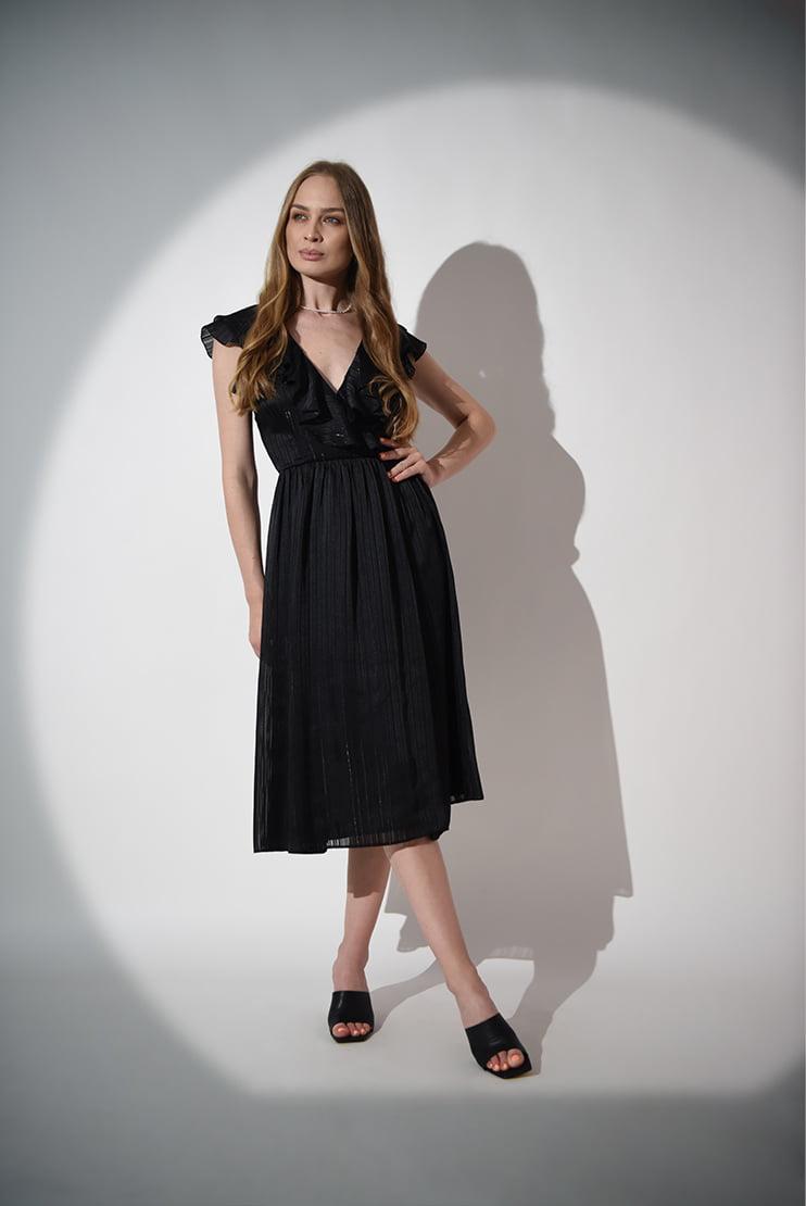 Rochie midi neagra cu anchior
