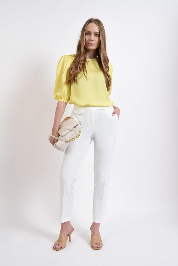 Pantaloni conici albi