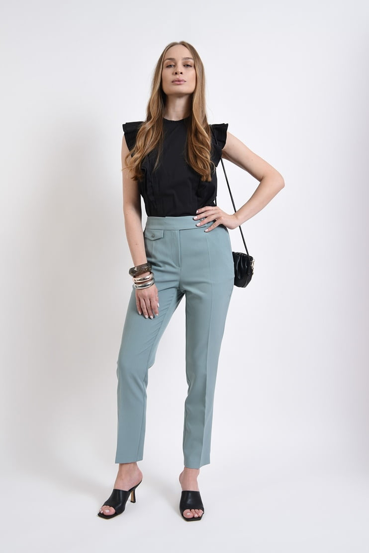 Pantaloni mint cu buzunar decorativ