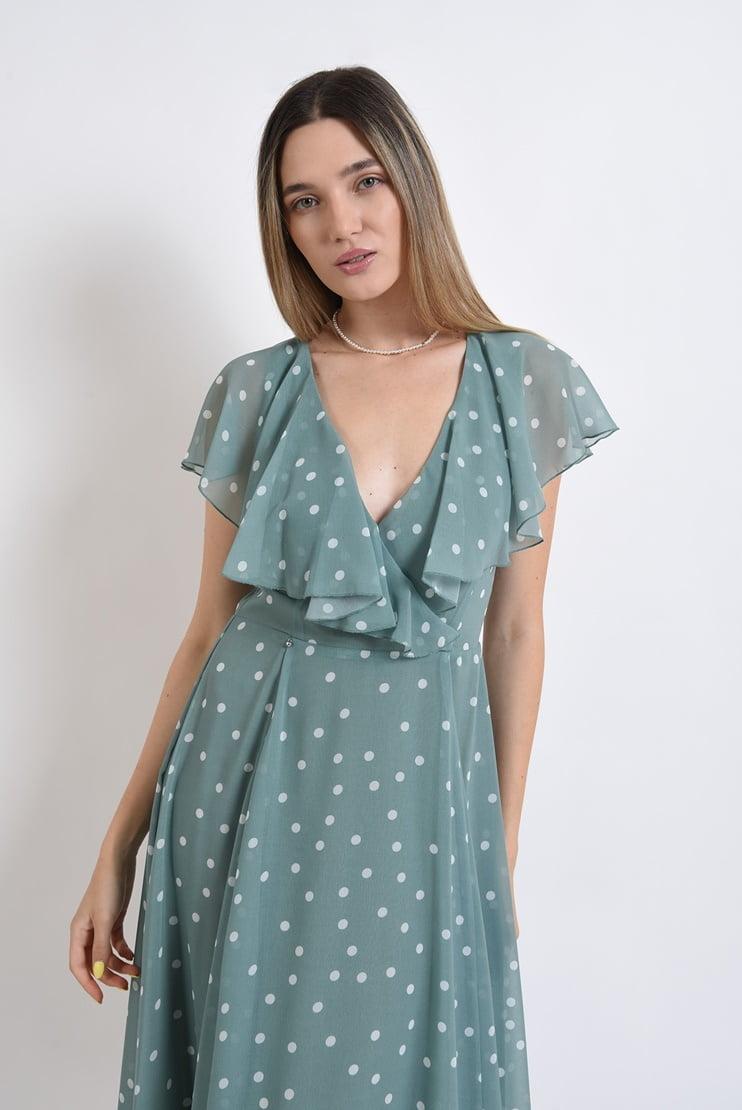 Rochie eleganta cu buline si volane