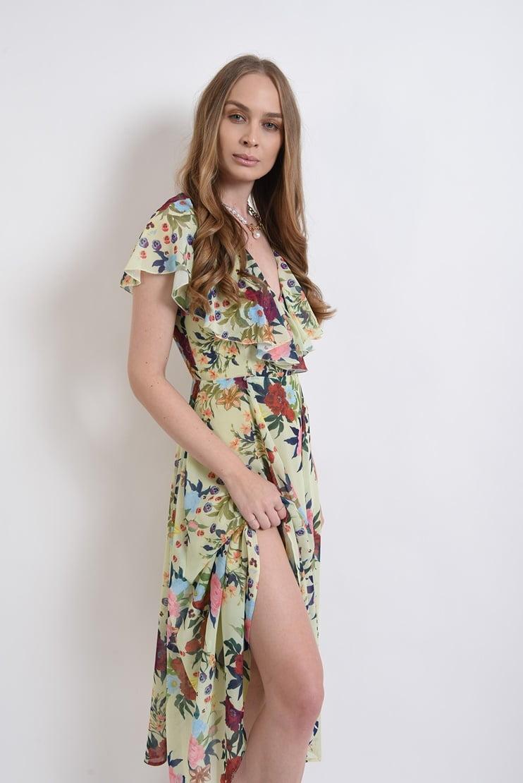 Rochie eleganta din sifon cu print botanic