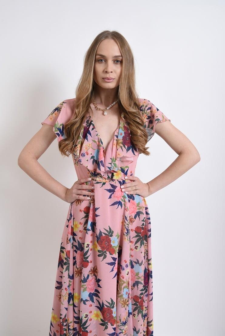 Rochie eleganta roz florala