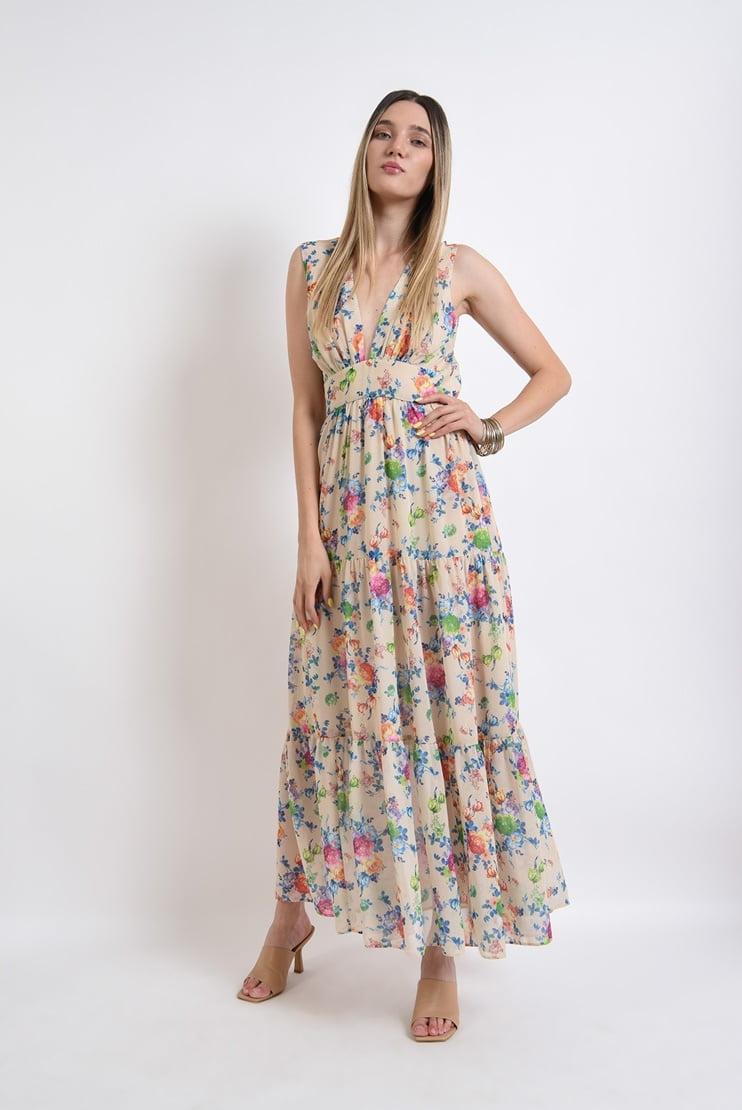 Rochie lunga vaporoasa cu motive florale