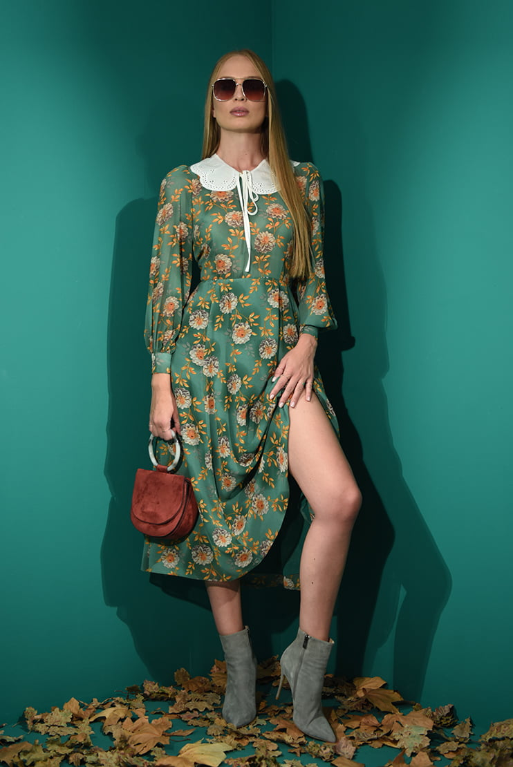 Rochie cu guler si print floral