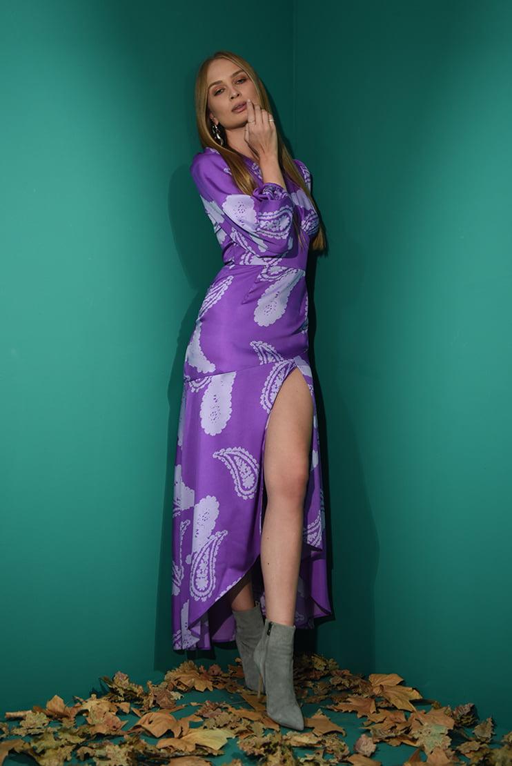 Rochie lunga cu slit