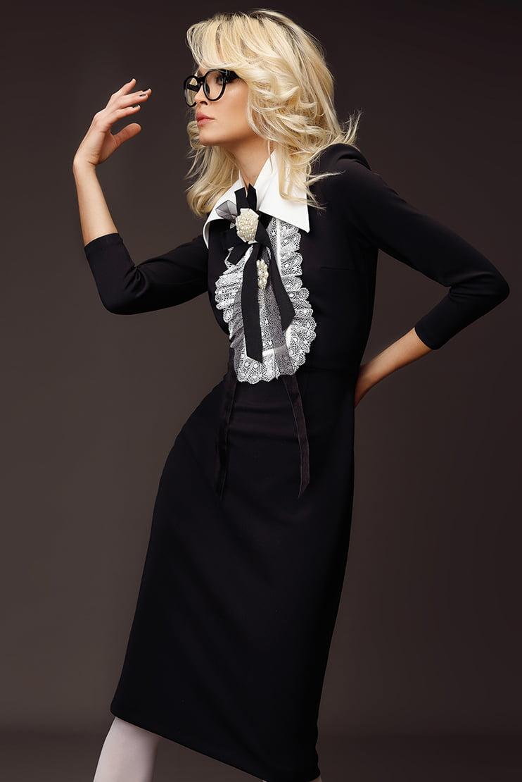 Rochie midi neagra cu croi conic